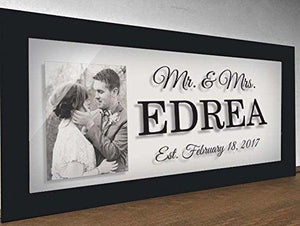 Mr & Mrs Wall Sign - Glass prints - Personalized Gift - Wedding Gifts for Couple - Wedding Gift - Wedding Gift - Wedding Gifts for Parents - Gifts for Parents - Last Name Sign - BOSTON CREATIVE COMPANY