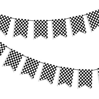 Checkered Black and White Banner Race Flag Banner Checkered Flag Banner Racing Flags Racing Birthday Party Supplies Finish Line Banner Race Car Party Decorations F1 Race Flag Welcome Race Fans Banner - 8* 5.5 Inches