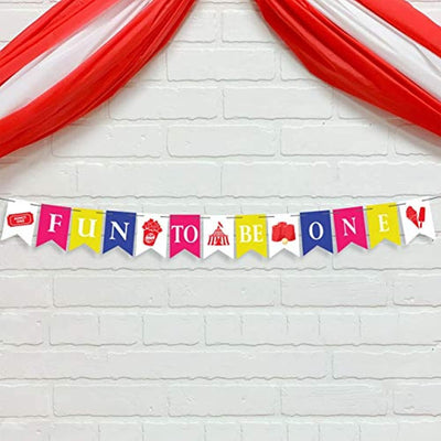 Fun To Be One Banner High Chair Kit Boy Or Girl First Birthday Party Supplies -Multi Color Pennant Banner Circus Banner Decoration For 1st Birthday-carnival Theme fun decor Letter Banner street signs
