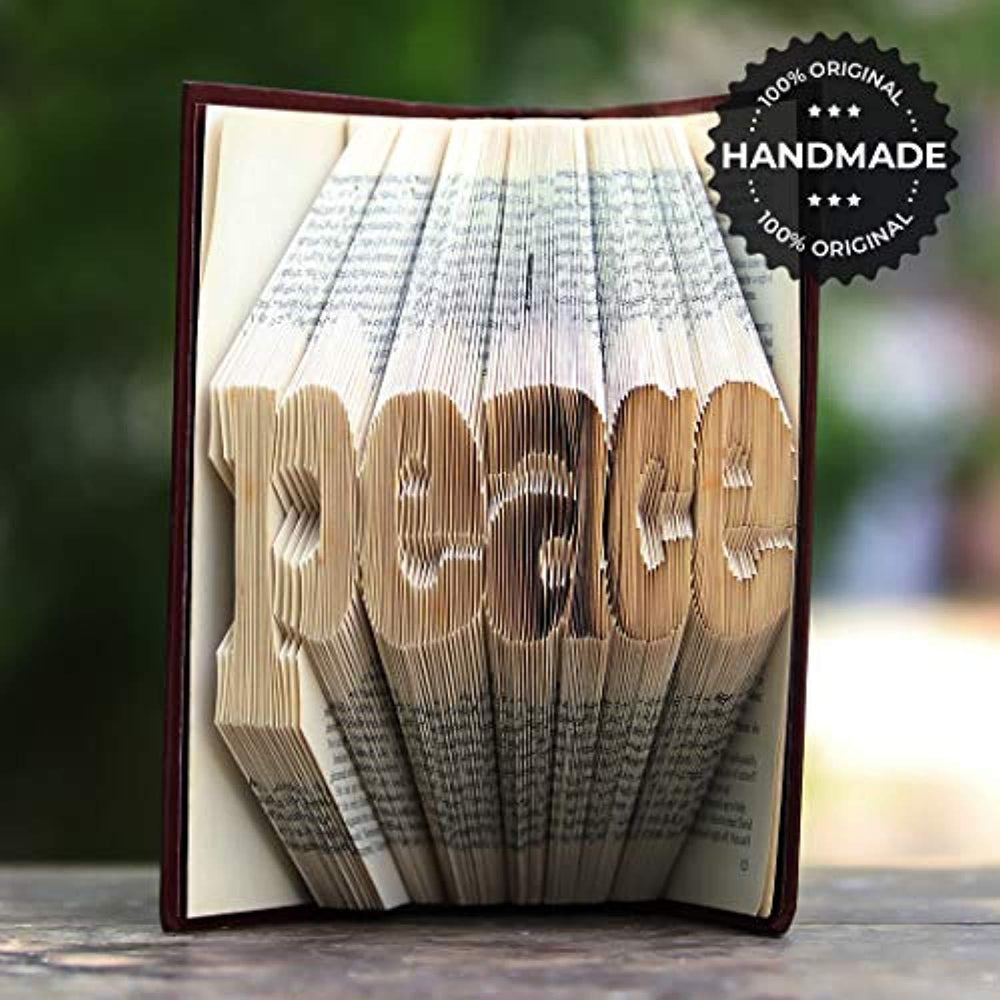 Peace Folded Book Art- Unique Gift Ideas for Christmas-Birthday Present for Book Lovers-Graduation Gifts for High School