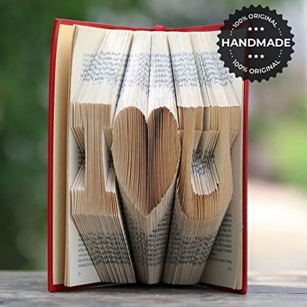 I Love U Folded Book Art-Folded Book Ideas-Handmade Gift for Long Distance Relationships-Boyfriend Birthday Gift-Wedding Anniversary Presentation-Lovable Remembrance for Loved One-Book of Love.
