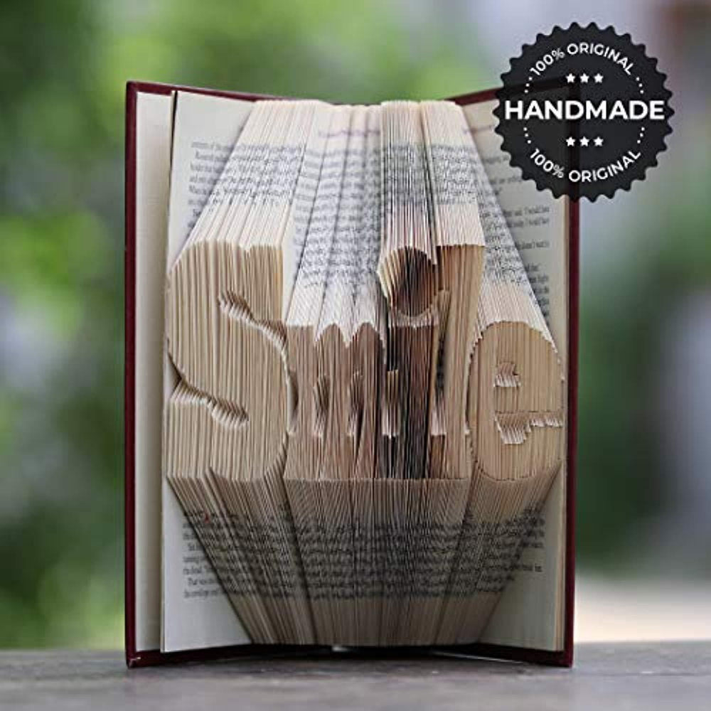 Smile Folded Book Art Unique Home Decor Gift for Dentists Best Friends Motivational Inspirational Encouraging Gifts