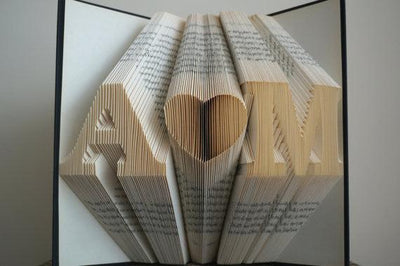 Folded Book Art Customizable Heart & Initials Pattern - BOSTON CREATIVE COMPANY