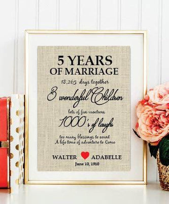 Unique Gift/Burlap Print / Personalized 5th Anniversary Gift/ Burlap Wall Decor/ Wedding Date - BOSTON CREATIVE COMPANY