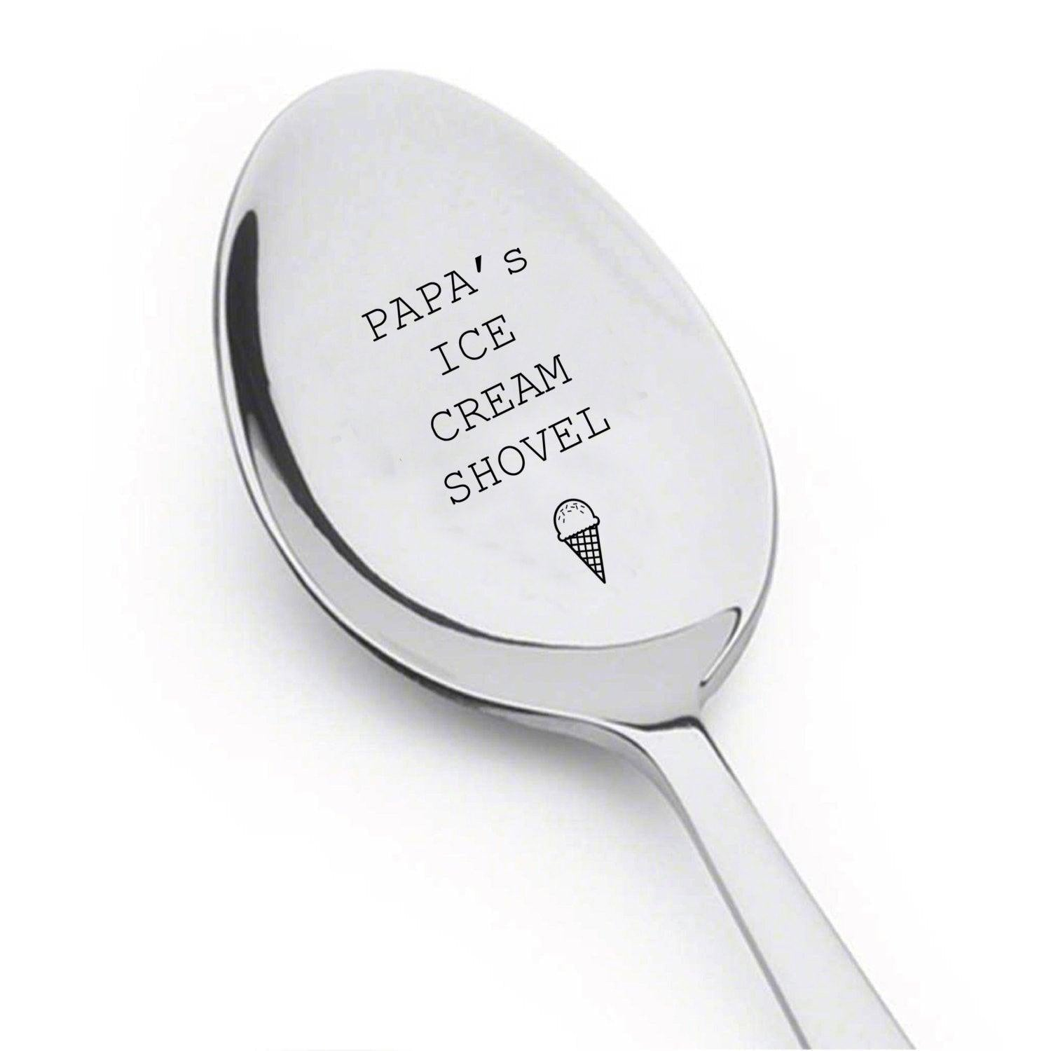 Papa's ice cream shovel | Father's day gift |Spoon Gift for dad | Gift for Ice Cream Lover - BOSTON CREATIVE COMPANY