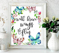 nursery decor - With Brave Wings She Flies - butterfly wall quotes - Tropical Print - Quote Print - Watercolor Nursery Art - Holiday Supplies - Colorful Wall Art-Kids Room Decor-Butterfly Print#WP-77 - BOSTON CREATIVE COMPANY