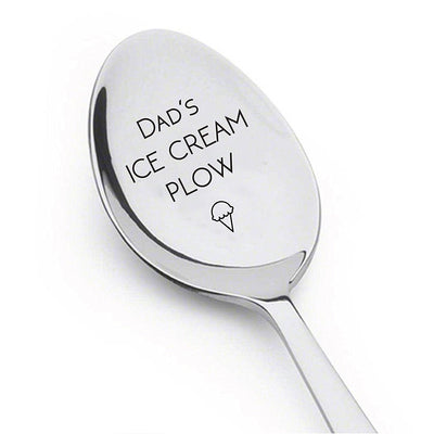 Dads Ice Cream Plow Engraved stainless steel spoon - BOSTON CREATIVE COMPANY