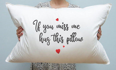Funny Gifts - Best Friend Gifts - Bedroom Decor - If you miss me hug this Pillow - Long Distance Relationship Gifts - BOSTON CREATIVE COMPANY