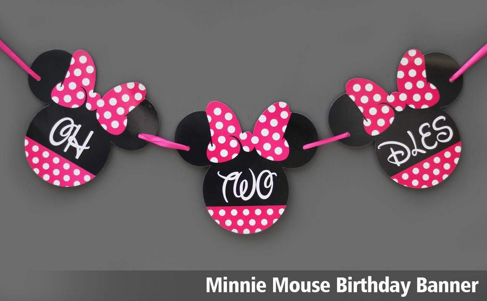 Minnie Mouse  OH TWO DLES! Minnie mouse Birthday Banner party supplies