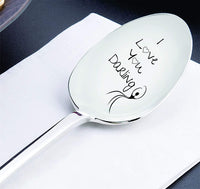 I Love You Darling With dancing Girl - Cute Gift - Engraved Spoon - Silverware Spoon Anniversary Gift - Wedding Gift - Girlfriend - Wife Gift