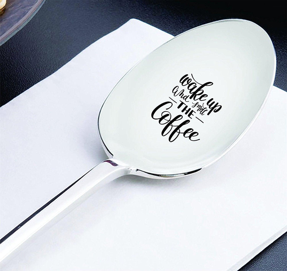Hostess gifts - Wake up and Smell the Coffee - Coffee spoon - Coffee lover gifts - Daddy gifts - Engraved spoons - Good morning - Friendship gifts - 7 Inches - BOSTON CREATIVE COMPANY