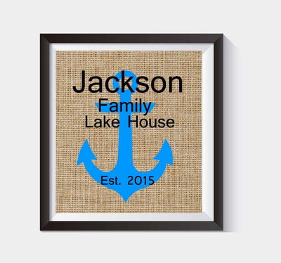 Lovely Housewarming Gift Personalized Lake House Sign - Custom Lake House Sign, Personalized Family Sign,burlap Print, Established Sign # 026 - BOSTON CREATIVE COMPANY