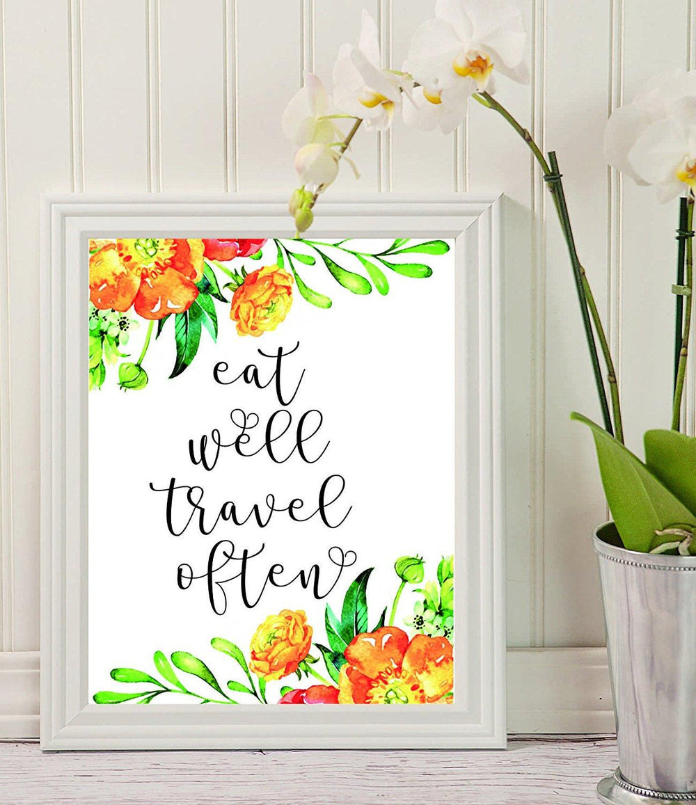 Eat Well Travel Often - Quote Print - Home Décor - adventure time - gifts for men -Travel Lover - Wall Art Décor - Wall Graphics - Quotes on Travel - Life Quotes - Modern Wall Art - Travel quote - BOSTON CREATIVE COMPANY