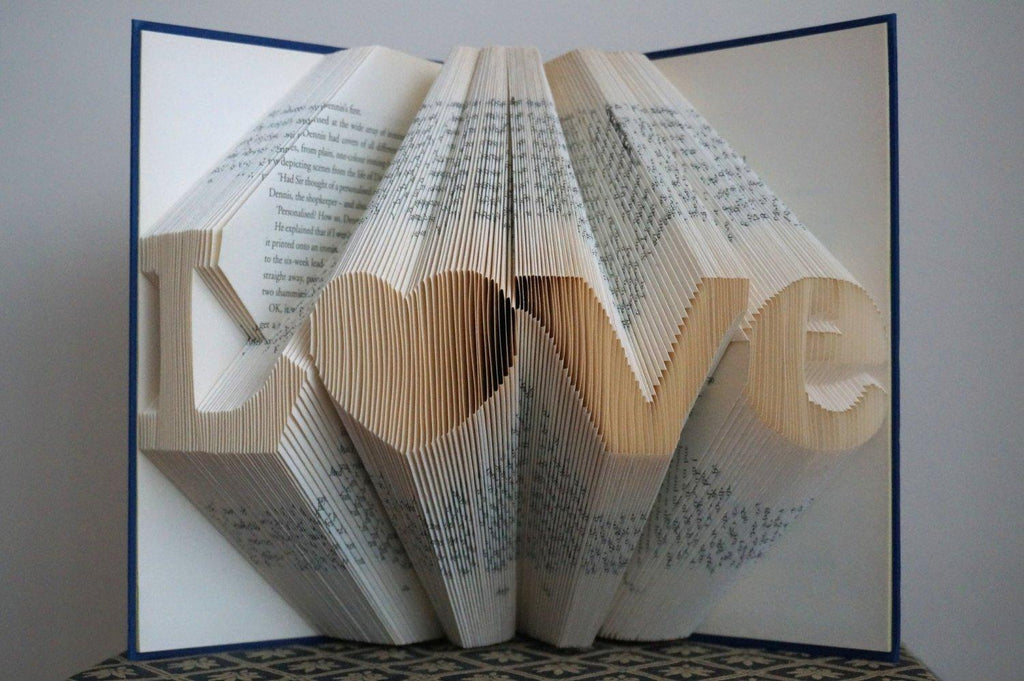 Folded Book Art - Paper Anniversary Gift - 8 Characters Including Hearts & Dots - Unique Birthday Gift - Boyfriend Gifts - Wedding Date - Save the Date - BOSTON CREATIVE COMPANY