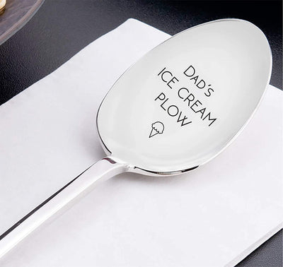 Dads Ice Cream Plow Engraved stainless steel spoon fathers day gift