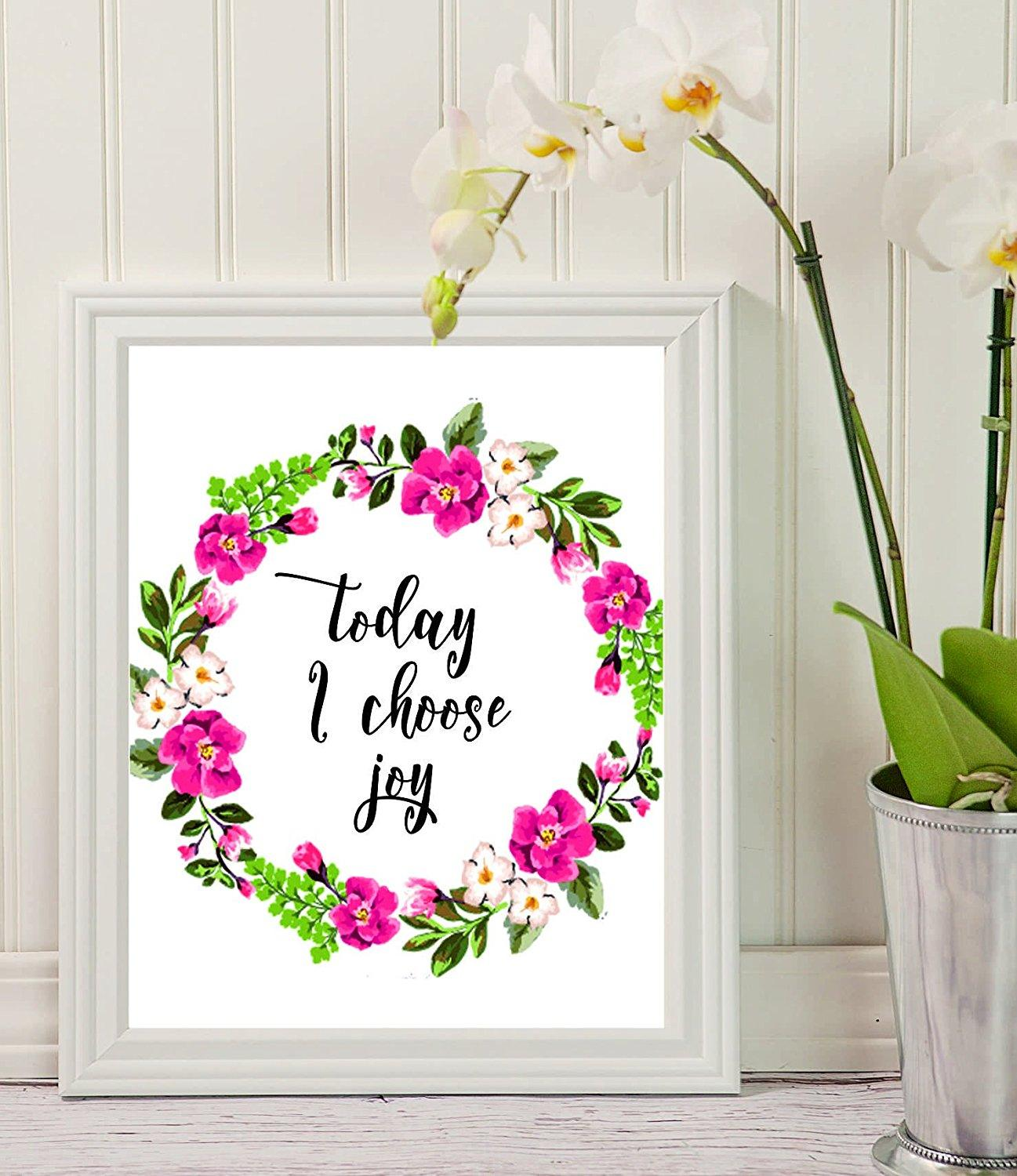 "Home Decor Stuff: Wall Art With Quote ""Today I Choose Joy"" Decor -home Decor"