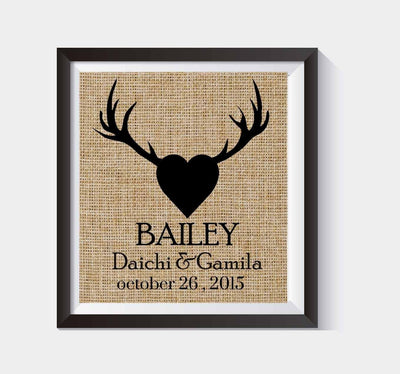 Rustic Heart Burlap Print - Valentine's Day Gift - Personalized Deer Antlers - Family Name Sign with First Names & Est. Date Burlap Wall Decor - Burlap Print - Wedding Gift #B_PRINT_02 - BOSTON CREATIVE COMPANY
