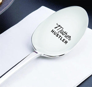 Gift for mom - Mothers day gifts - Keepsake gifts - Engraved spoon - Mother hustler – Ice cream spoon - Teaspoon - Mom gifts for birthday - Gift for her - 7 inches - BOSTON CREATIVE COMPANY