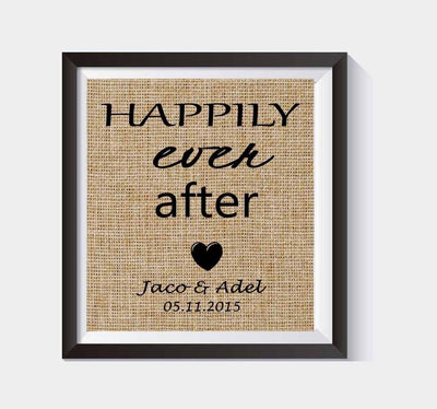 Happily Ever After Burlap Print | Personalized Bridal Shower Gift | Personalized Wedding Gift for Couples | Disney Wedding Gift - BOSTON CREATIVE COMPANY