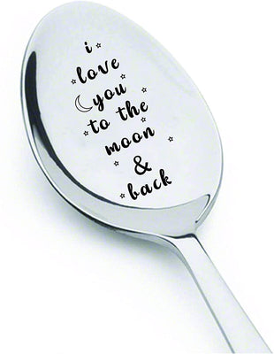 I Love you to the Moon and Back Engraved stainless steel Spoon