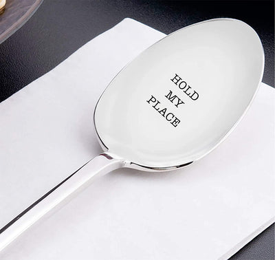 Hold My Place Spoon Gift For Graduation Back To School Farewell For Book Lover Co Worker Best Friends And Loved Ones Engraved Stainless Steel Spoon