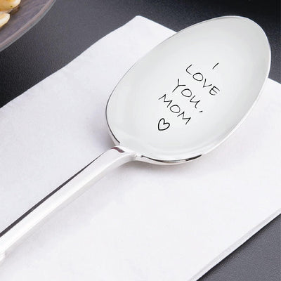 I Love You Mom Spoon - Customized Gift Unique Birthday, Valentines Day Gifts for Her, Him, Mom Dad