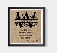 Joshua 24, As for Me and My House, We Will Serve the Lord, Burlap Print, Housewarming, Wedding, or Anniversary Present, Christian Art # 019 - BOSTON CREATIVE COMPANY
