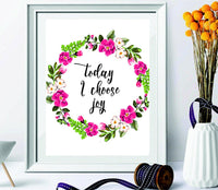"Wall art with quote ""Today i choose joy"" decor -home decor- modern art floral print-teen room decor- beautiful housewarming -gifts for loved ones- room-entrance-lobby wall art decor - BOSTON CREATIVE COMPANY"