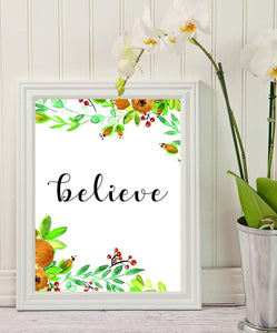 Office Decor - Believe - Home Wall Art - Calligraphy Print - Inspirational Quote - Flowers Office Decor - Floral Art - Office Wall Art - Motivational Quote - Flowers Nursery Decor - BOSTON CREATIVE COMPANY