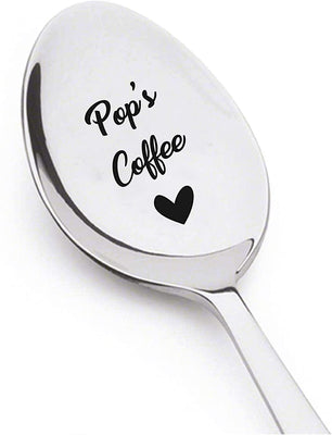 Dad gifts - Pops Coffee spoon - Unique Gifts for Dad - Engraved Spoon - Funny gifts - Fathers Day Spoon - 7 Inches