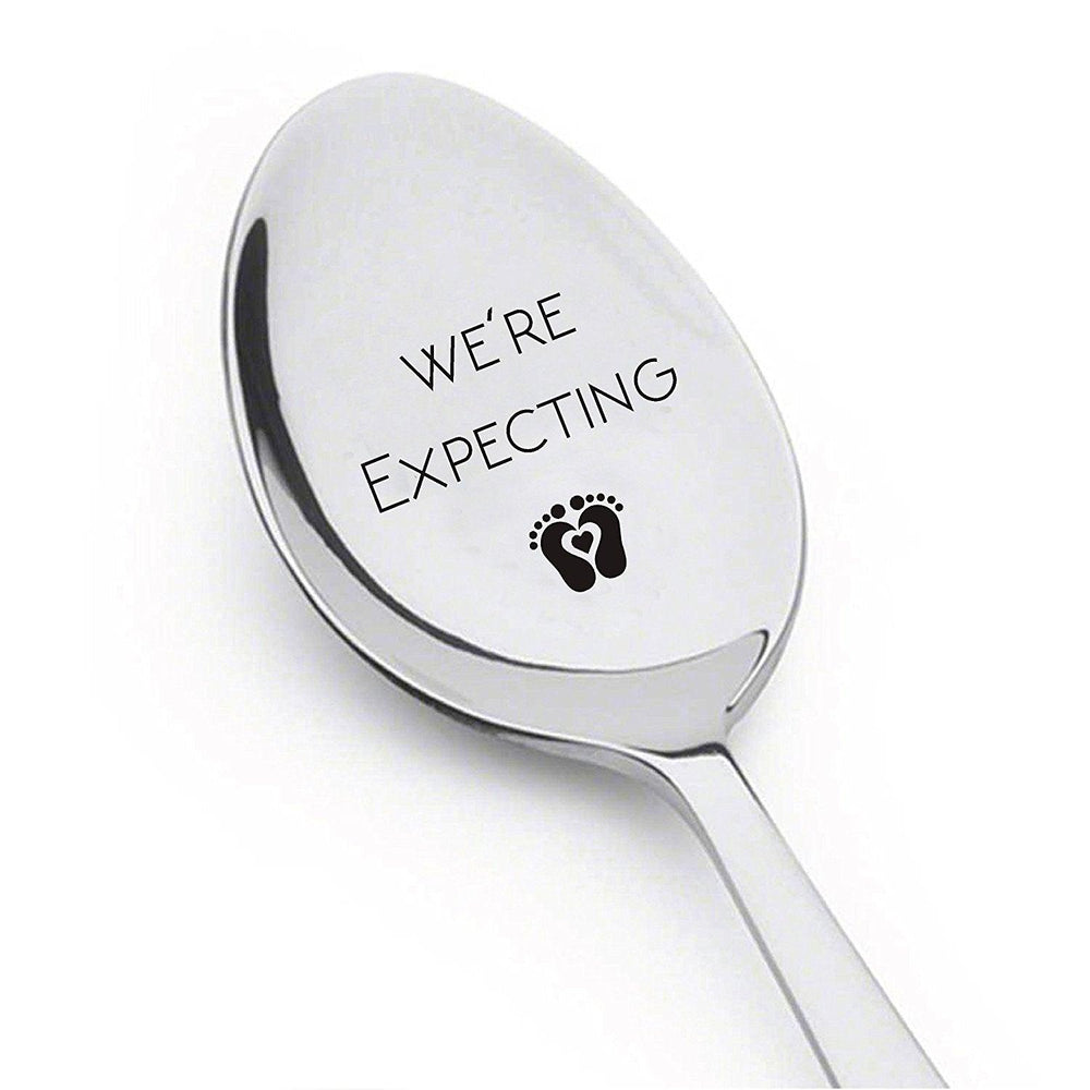 Were Expecting Spoon- Pregnancy Announcement Spoon- Best Selling Item -Engraved Unique Gift Ideas - Spoon Gift # A8 - BOSTON CREATIVE COMPANY