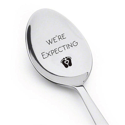 We're Expecting Spoon- Pregnancy Announcement Spoon- Best Selling Item -Engraved Unique Gift Ideas - Spoon Gift # A8 - BOSTON CREATIVE COMPANY
