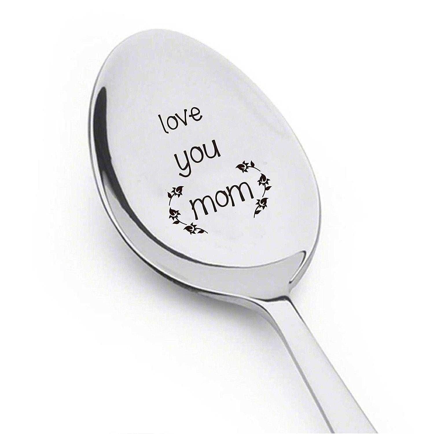Love You Mom - Coffee Spoon mom Gift - Flatware Spoon -Trendy spoon- Cute Spoon - BOSTON CREATIVE COMPANY