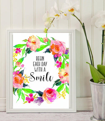 Begin Each Day With A Smile Wall Decal - Bedroom Decals - Bathroom Decals - BOSTON CREATIVE COMPANY