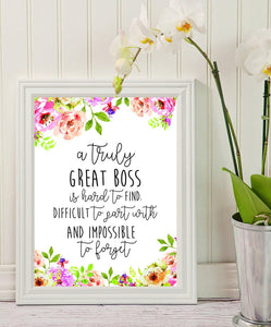 Boss Gift - A truly great boss is hard to find - Office Gift - Office Décor - Going Away Retirement Gift - Personalized - Custom Quote Print - Gift for Boss – Special gift – Work Motivational Quote. - BOSTON CREATIVE COMPANY