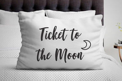 Bedroom Decor - Ticket to the Moon Pillowcase - Self love - White Pillow Cover - Decorative Pillow Covers - Single Pillowcase - BOSTON CREATIVE COMPANY