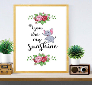 You Are My Sunshine - wall frame print - Kids Wall Art - Large wall quote - Quote Pictures - Nursery Wall Art - My only Sunshine - Printable Décor - BOSTON CREATIVE COMPANY