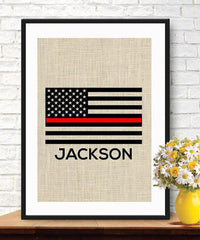 Thin Red Line Flag - Personalized Firefighters Gift - American Flag - Burlap Print - BOSTON CREATIVE COMPANY
