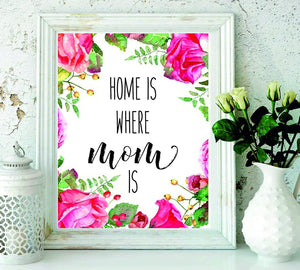 Home is Where Mom Is - Christmas Gift for Mom-Mother's Day Gift-Mom Gift-Present for Mom - Gifts for Mom - Perfect Gift for Mothers from Sons and Daughters for Birthdays-Mom Art-Floral Art#WP-62 - BOSTON CREATIVE COMPANY