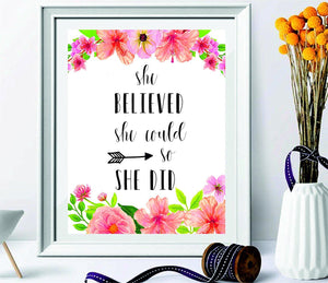 She believed she could so she did printable - quotes print - nursery décor – gifts for women - wall art - inspirational quote - black arrow wall decor - graduation gift - Printable women gift - BOSTON CREATIVE COMPANY