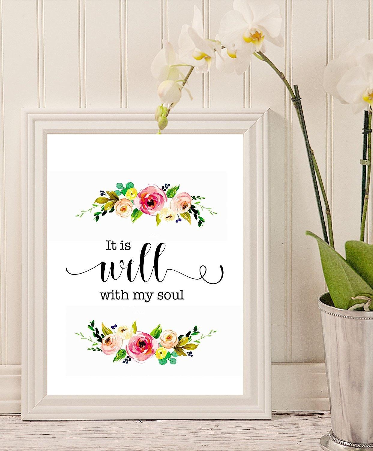 picture relating to It is Well With My Soul Printable identified as It is effectively with my soul - Printable estimate, Christian Wall Print - wall artwork decor - wedding day artwork - Scripture Print - floral prices - Household decor