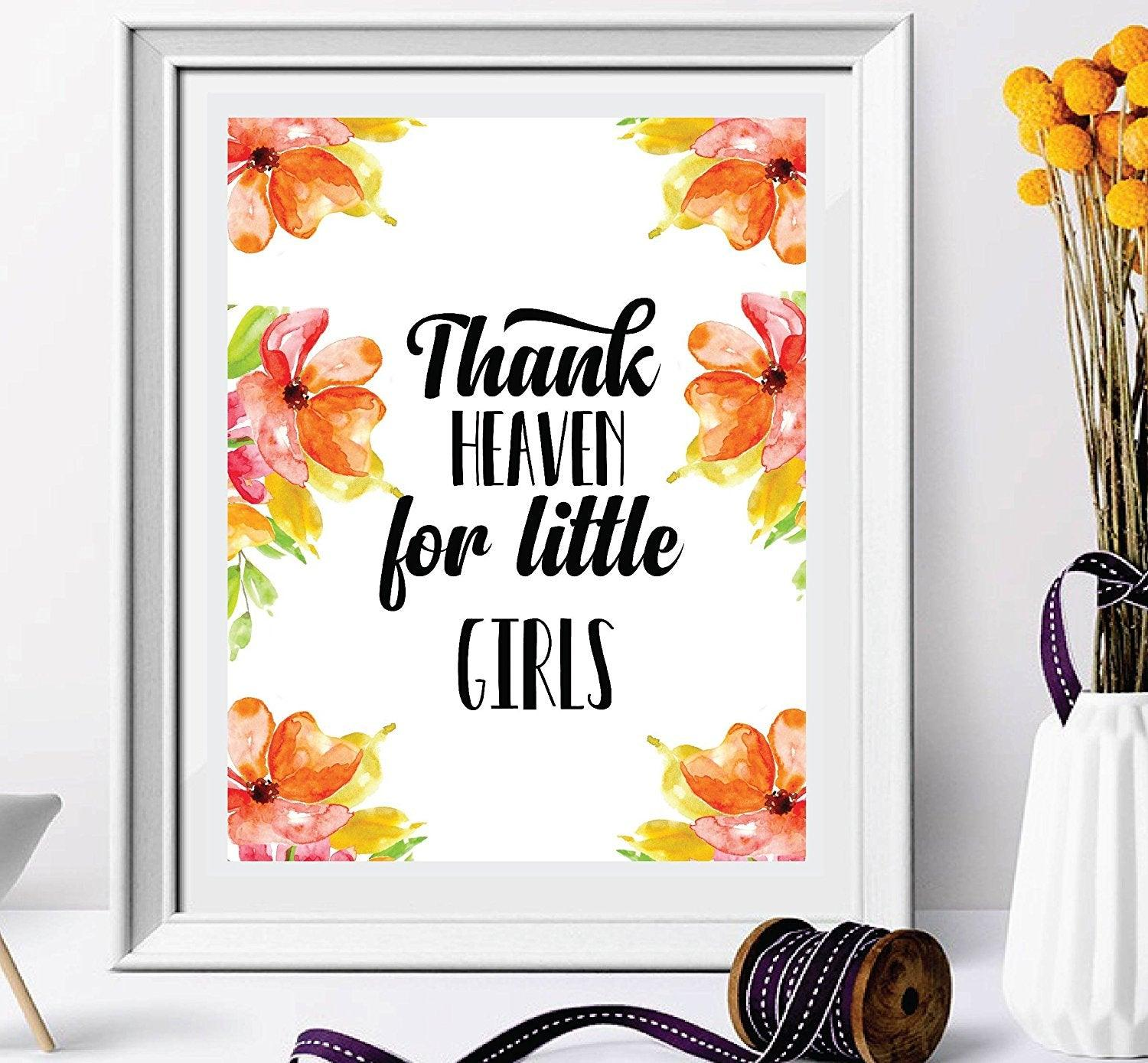 Thank Heaven For Little Girls - wall art - Nursery Décor - Nursery Wall Art - Nursery Quote - Girl Nursery Decor - Wall Decor-kids room decor-Peach Nursery print Watercolor floral wreath - BOSTON CREATIVE COMPANY