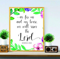 Printable Bible Verse - As for me and my house print - Joshua 24:15 - Home Décor - Biblical wall art - Christian Art - Scripture Printable - Nursery wall art Christian - BOSTON CREATIVE COMPANY
