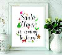 Santa Claus is coming to town - Christmas gifts - Christening Gifts - gifts for kids - wall art prints - home decor - wall art decor - holiday gifts -Unique Christmas Gifts#WP-58 - BOSTON CREATIVE COMPANY