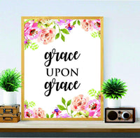 Christian wall art - John 1:16 - Grace Upon Grace - Wall Art - Religious Art - Home decor - Watercolor print art - Calligraphy quote - Bible verse print - Grace print - BOSTON CREATIVE COMPANY