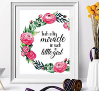 Such A Big Miracle In Such A Little Girl - Baby Girl Accessories - Baby Art - Nursery Quotes - Girl Nursery Decor - Nursery Pintables - Nursery Decor – Baby Nursery Decal#WP-80 - BOSTON CREATIVE COMPANY