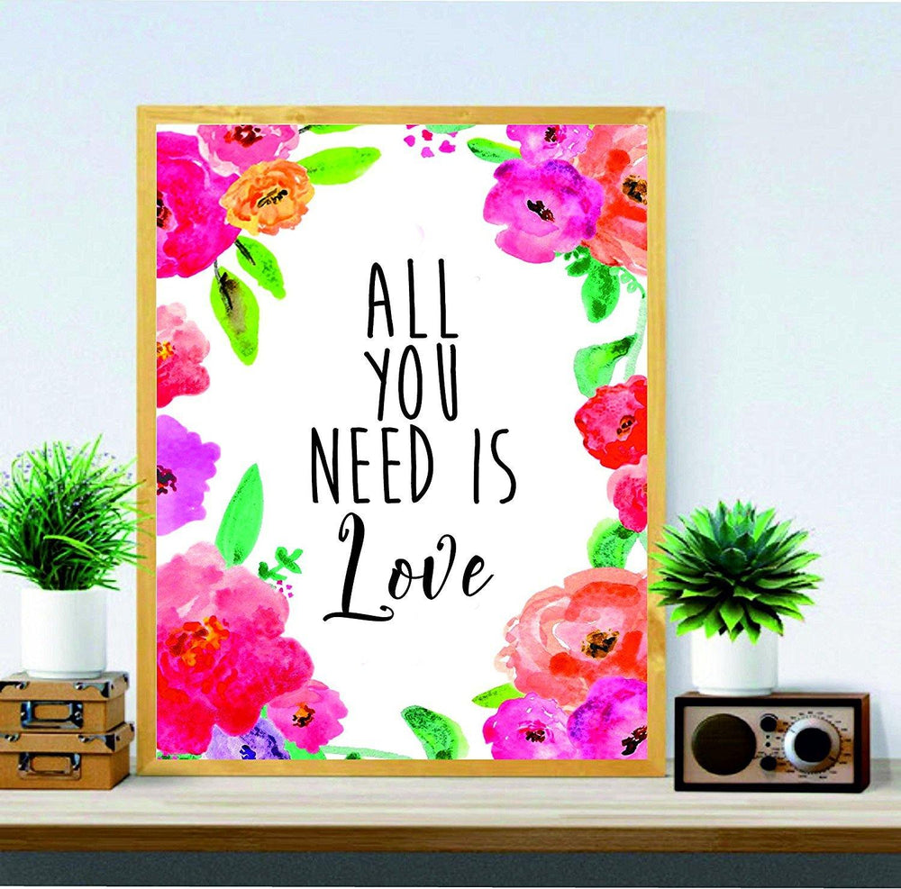 All You Need Is Love - Office Quote - Funny Quote Art - wall art - gifts for women - BOSTON CREATIVE COMPANY