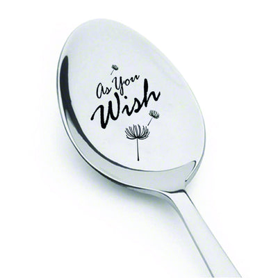 As You Wish Engraved Spoon-Dandelion Seed-Hand Stamped Gift-Snowflake Flatware-Christmas Funny Gift