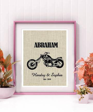 Motorcycle Lovers Gift|Valentines Day Gift|Personalized Burlap Print|Harley Davidson Decor - BOSTON CREATIVE COMPANY
