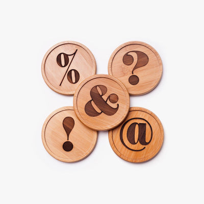 Wooden Coasters - Punctuation Coasters (Set of 5)